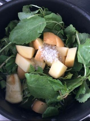 Fanes de radis, cubes de pomme de terre, sel de Guérande